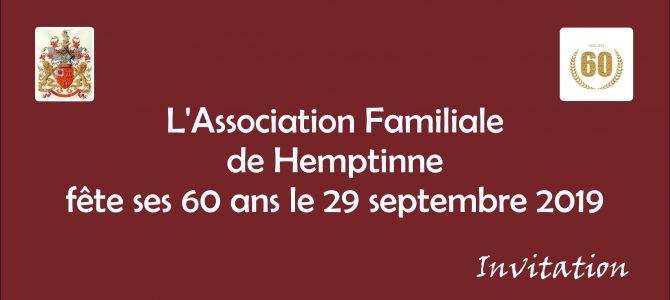 L'Association Familiale fête ses 60 ans le 29/09/2019 au Domaine des Grottes de Han